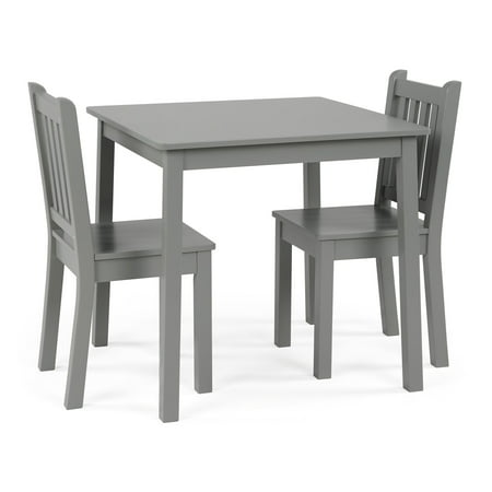 3pc Kids Table and Chair Set Gray - Humble Crew
