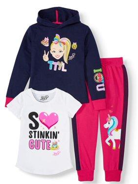 Jojo Siwa Unicorn Graphic Hoodie, Top and Legging, 3-Piece Outfit Set (Little Girls & Big Girls)