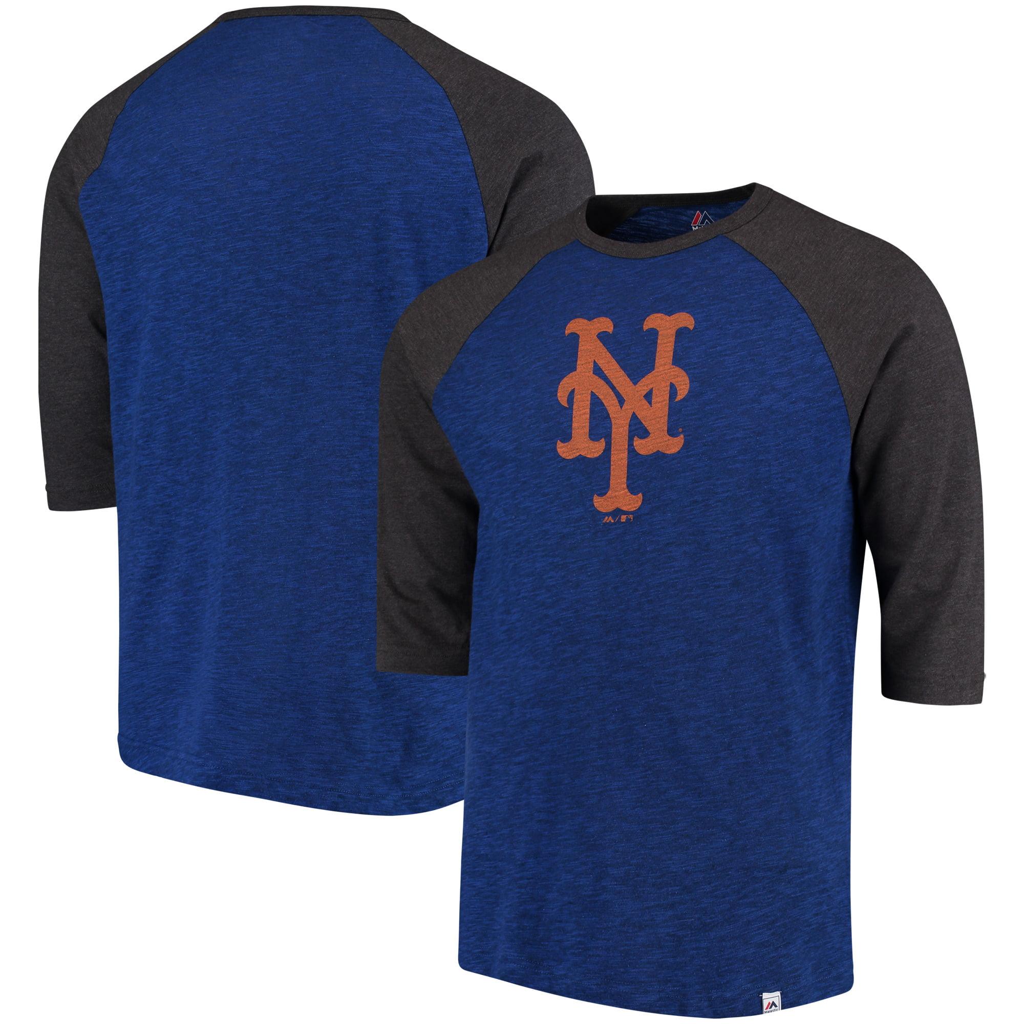 New York Mets Majestic Grueling Ordeal 3/4-Sleeve Raglan T-Shirt - Royal