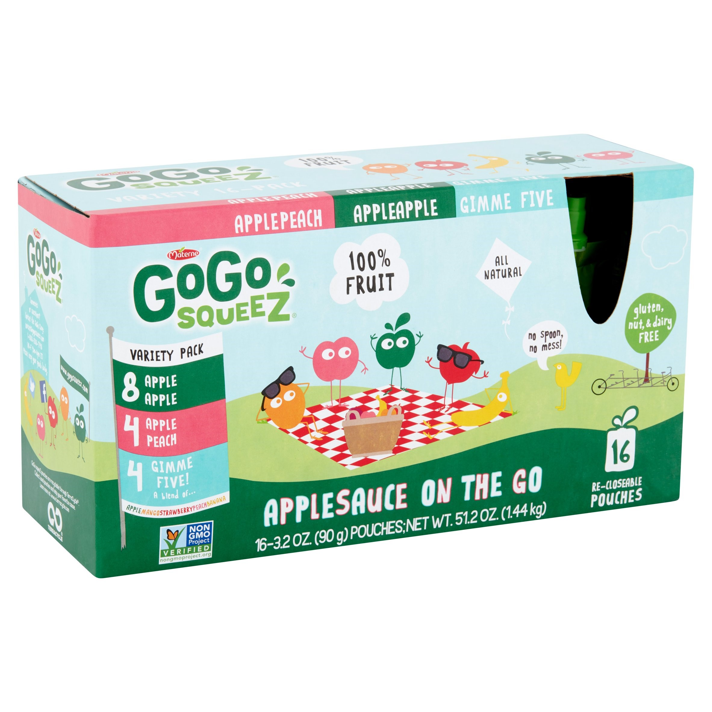 GoGo squeeZ Applesauce On the Go Variety Pack, 3.2 oz, 16 ct