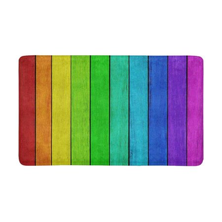 MKHERT Empty Rainbow Colored Wood Background Doormat Rug Home Decor Floor Mat Bath Mat 30x18 (Rainbow Colored Wood)