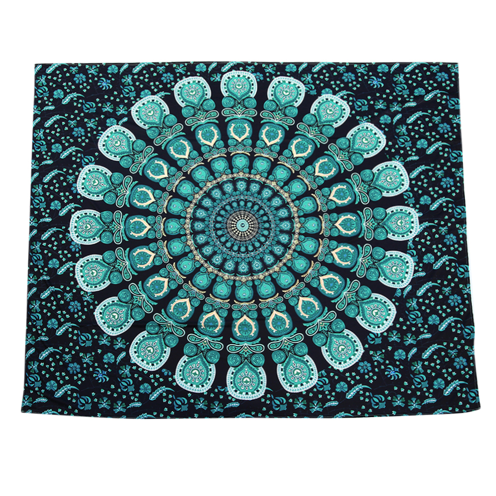 Green Peacock Size M Rectangle Elephant Tapestry Colored Printed Decorative Mandala... by