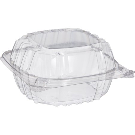 Pack of 100 Small Clear Plastic Hinged Food Container 6x6 for Sandwich Salad Party Favor Cake Piece, Pack of 100 Clear Plastic 6x6 Hinged Food Container By Dart Solo (100 Piece Pack)