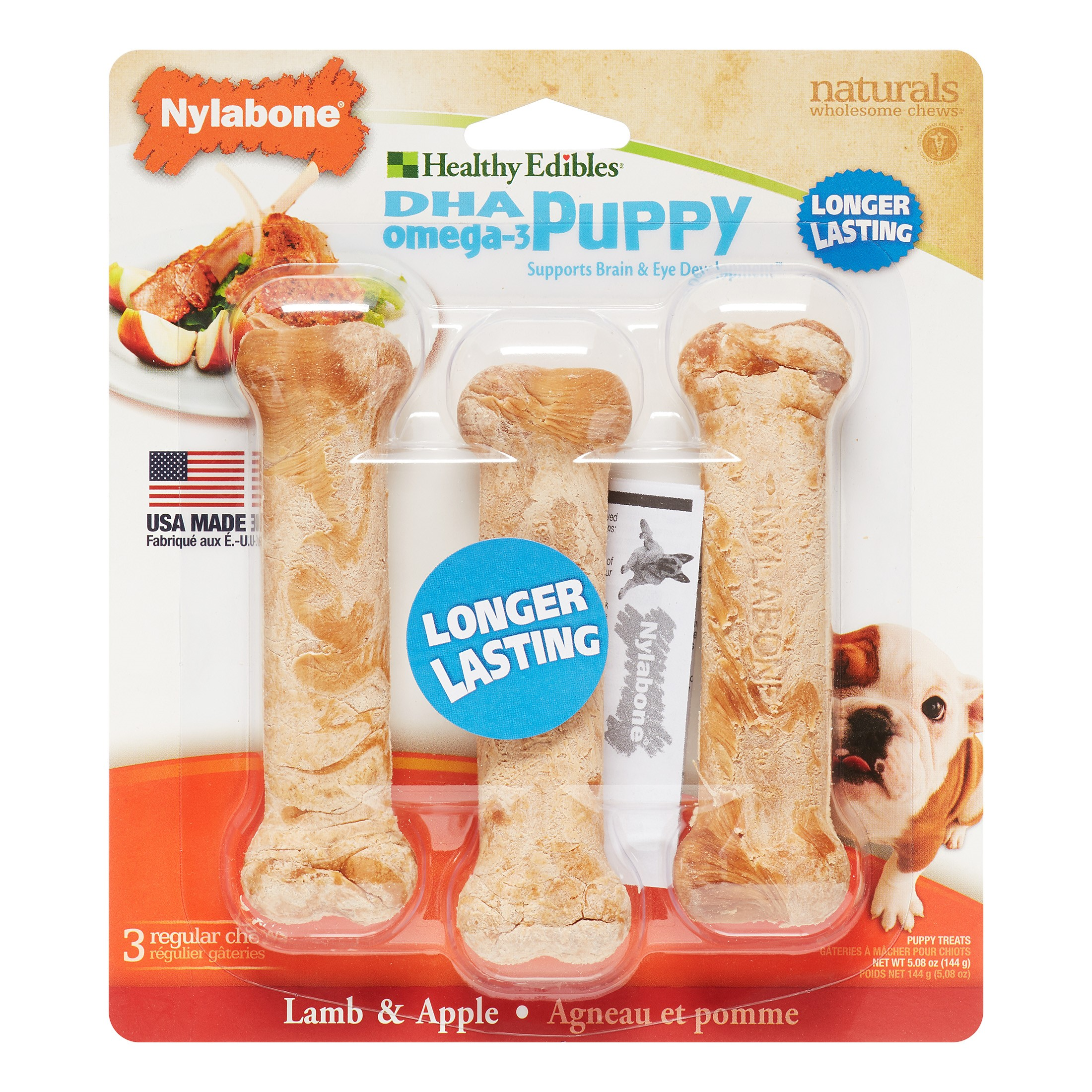 Nylabone Healthy Edibles Puppy Chews Lamb and Apples 3 Chewables