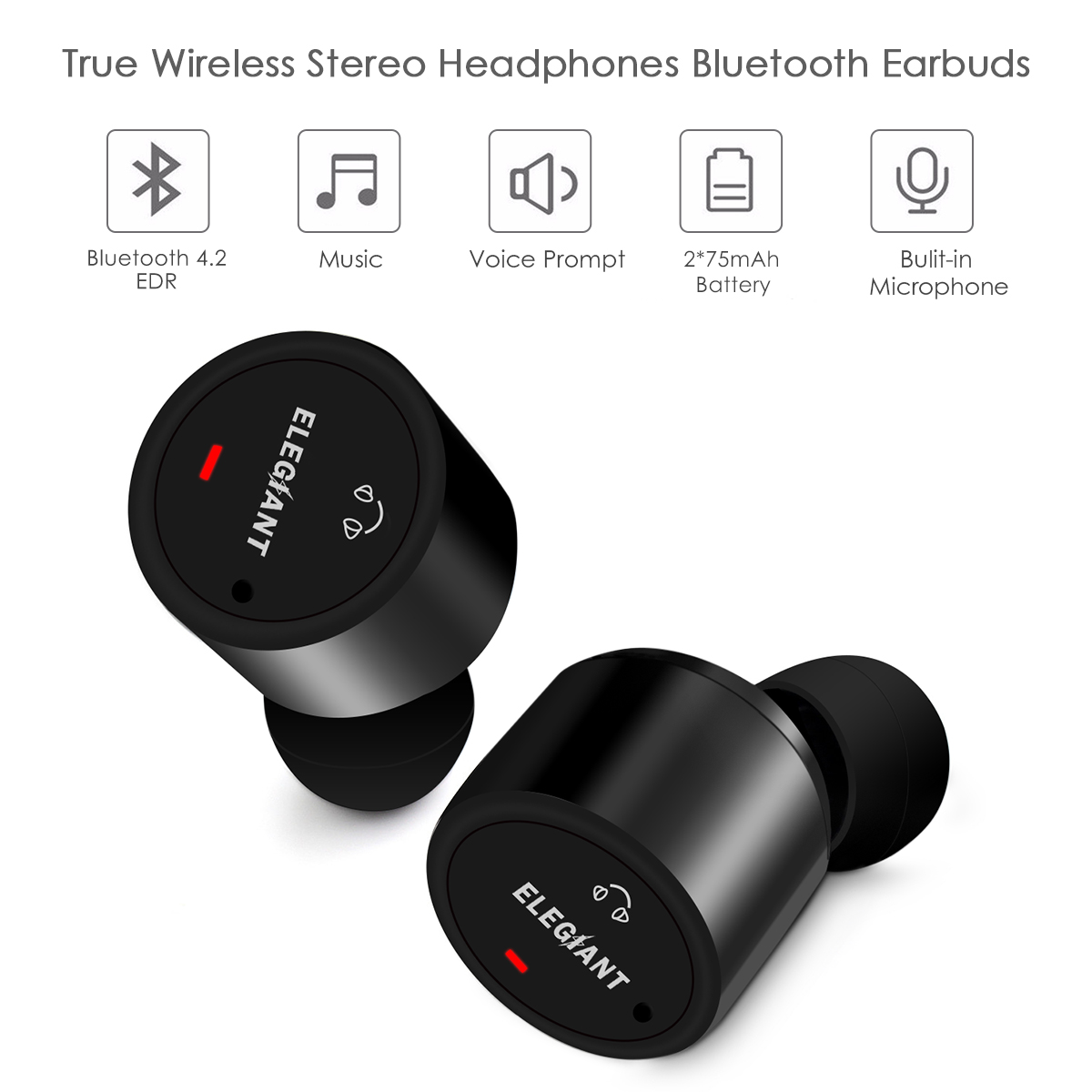 ELEGIANT X1T Wireless Bluetooth USB Charge In-ear Sweat-proof Stereo Headphone Earbud Earphone Headset Noise Reduction Canceling Hands-free With Built-in Mic For Business Sport
