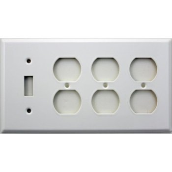 Stamped Steel Smooth White Four Gang Wall Plate - One Toggle Switch Three Duplex (4 Stamp Plate)