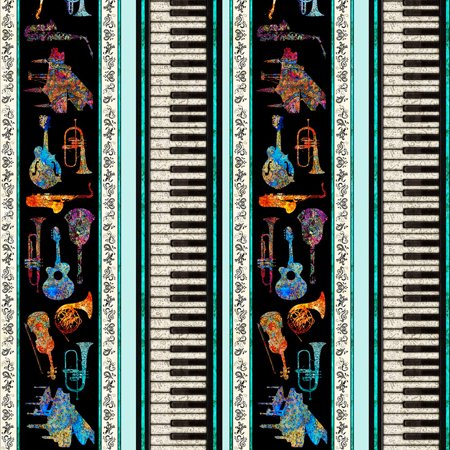 Quilting Treasures Fine Tuning by Dan Morris Instrument Stripe Light