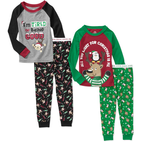 Faded Glory Baby Boys' 4-Piece Holiday Pajama Set