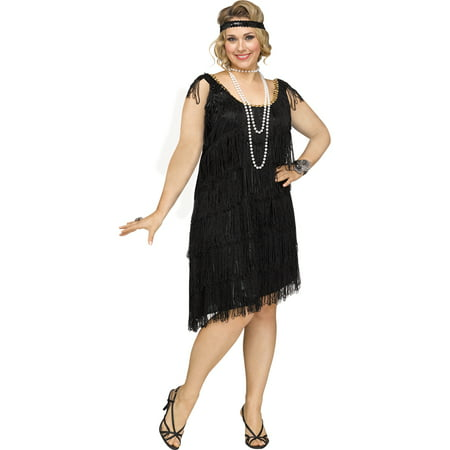 Womens Sexy Shimmery Flapper Plus Size 1920s Costume - Plus Size Womens Zombie Costume