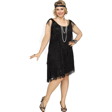 Womens Sexy Shimmery Flapper Plus Size 1920s Costume](Saloon Costumes For Womens)