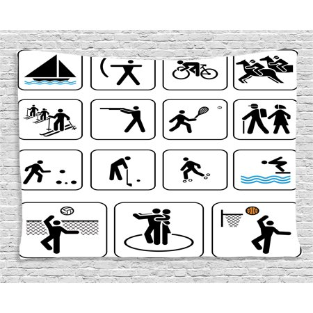 Olympics Decorations Tapestry, Sports Competition Games Dancing Horse Riding Bowling Athletics Art, Wall Hanging for Bedroom Living Room Dorm Decor, 60W X 40L Inches, Black White, by Ambesonne