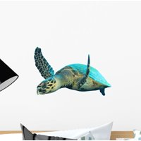 Hawksbill Sea Turtles White Wall Decal by Wallmonkeys Peel and Stick Graphic (12 in W x 8 in H) WM28080