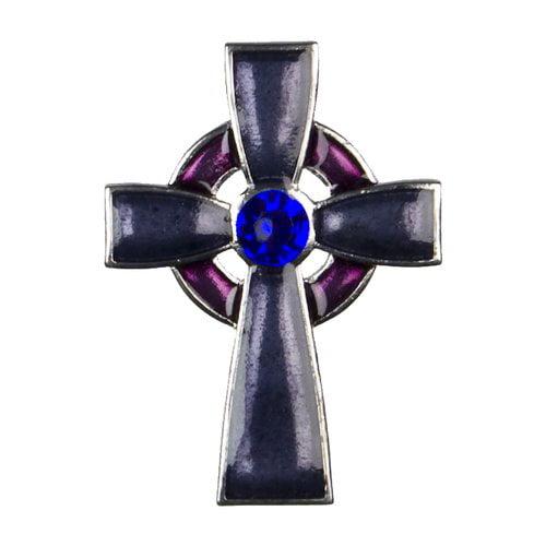 Cousin Metal Celtic Cross Accent, Silver/Purple