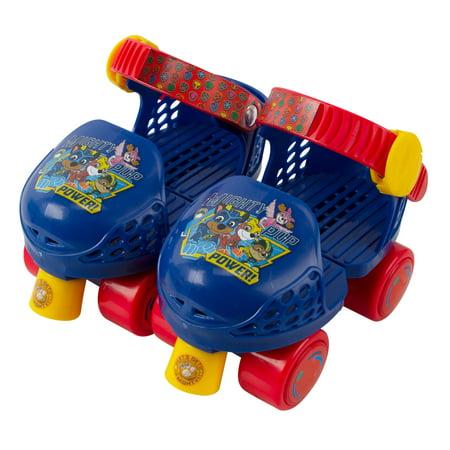 PlayWheels Paw Patrol Kids Glitter Rollerskate Junior Size 6-12 with Knee Pads