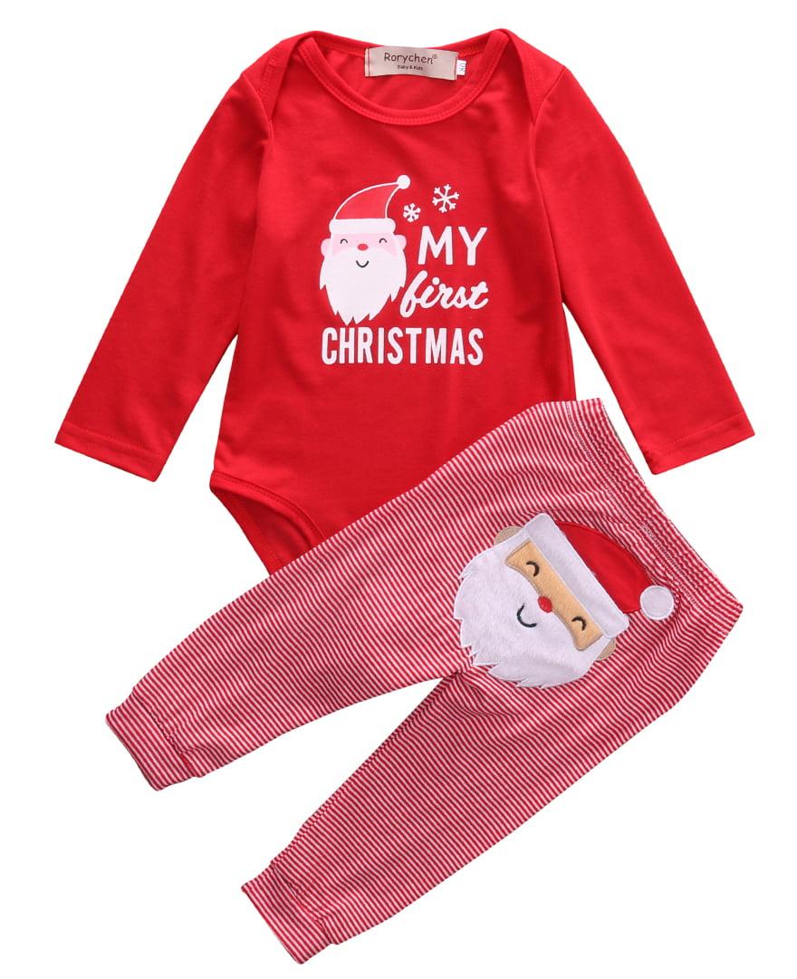 73802548bf6f Gaono - Newborn Baby Boys Girls My First Christmas Bodysuit and Plaid Pants  Leggings Christmas Outfits Set - Walmart.com