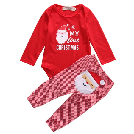 Newborn Baby Boys Girls My First Christmas Bodysuit and Plaid Pants Leggings Christmas Outfits Set