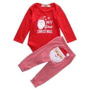 3b50d0041913 Newborn Baby Boys Girls My First Christmas Bodysuit and Plaid Pants  Leggings Christmas Outfits Set