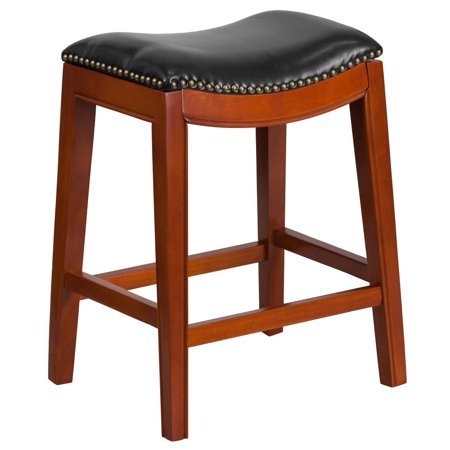 Medium Cherry Seat - 26'' High Backless Light Cherry Wood Counter Height Stool with Black Leather Saddle Seat