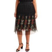Studio West Women's Plus Size Embroidered Skirt with Mesh Overlay