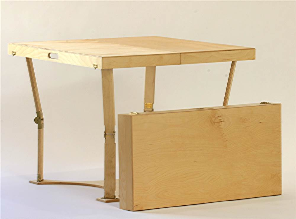 Wooden Folding Dining And Puzzle Table In Natural Birch Finish