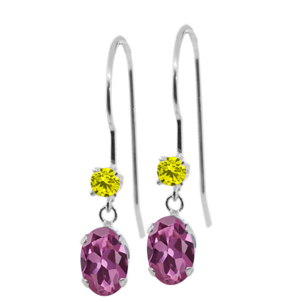 1.13 Ct Oval Pink Tourmaline Canary Diamond 14K White Gold Earrings