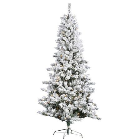 Vickerman Flocked Slim Pine Pre-Lit Christmas Tree ...
