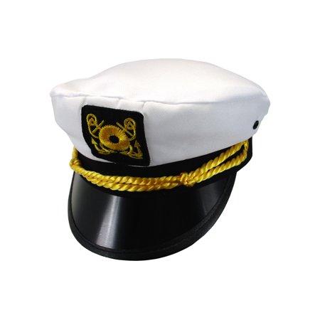 Adult Ship Navy Officer Yacht Sea Skipper Captain Hat Cap Costume Accessory (Captian Hat)