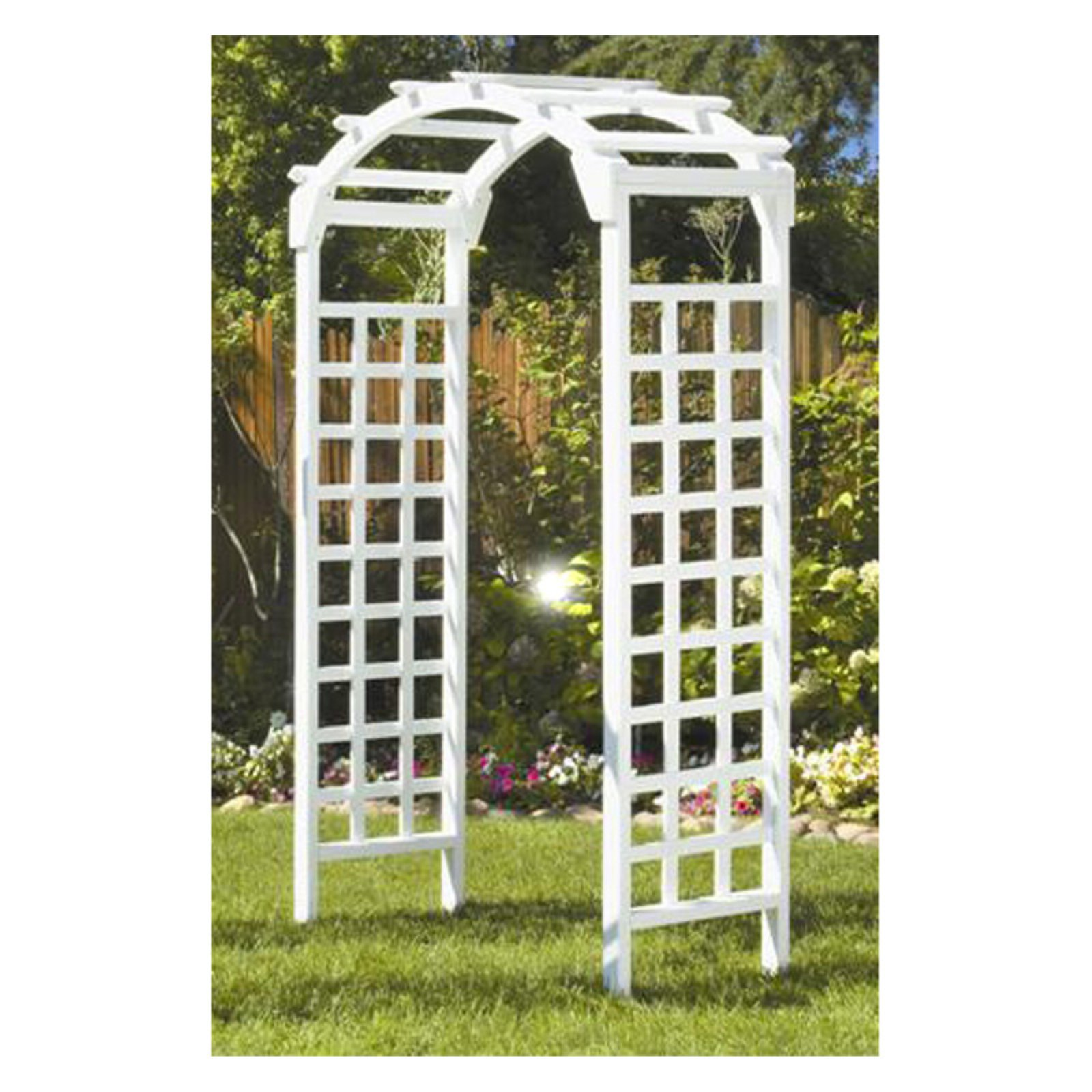 Greenstone White Arch 7 ft. Wood Arbor