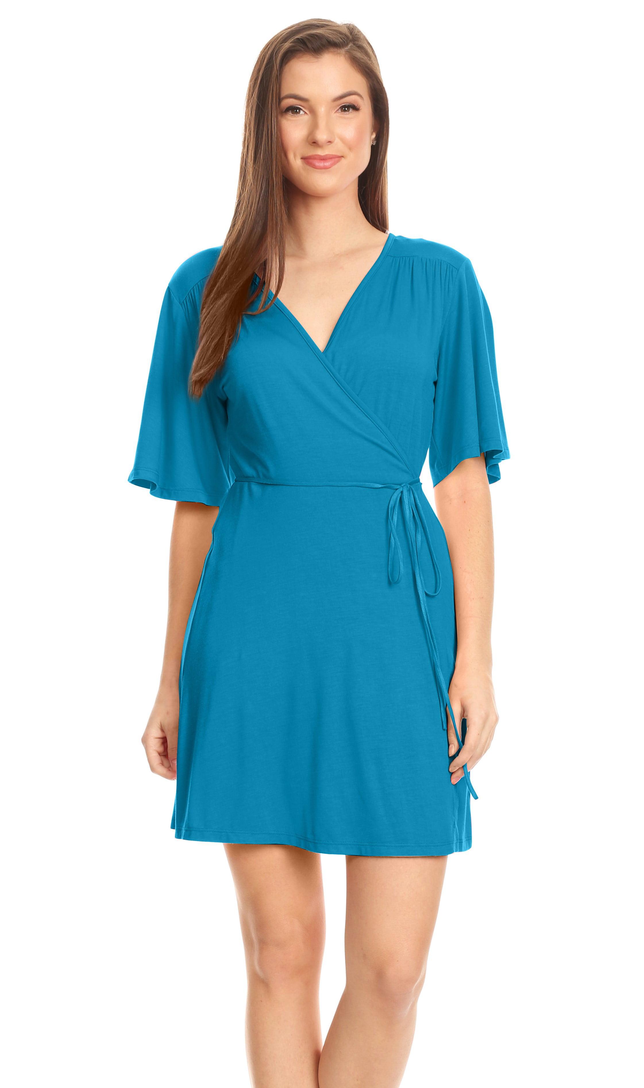 Simlu - Women\'s Wrap Dress Flared Sleeve Reg and Plus Size Wrap ...