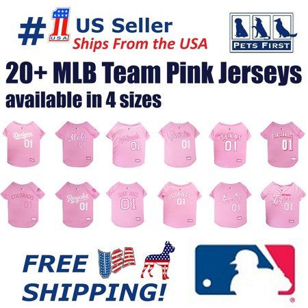 Pets First MLB Houston Astros Baseball Pink Jersey - Licensed MLB Jersey - -