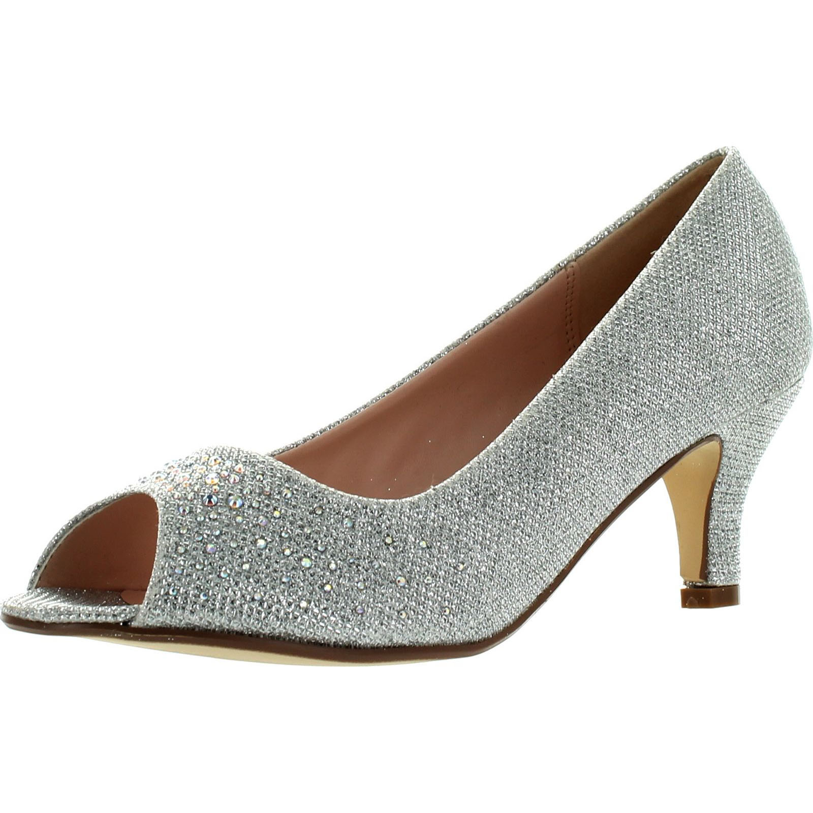 BONNIBEL WONDA-2 Women's Peep Toe Low Heel Glitter Slip On Dress Pumps