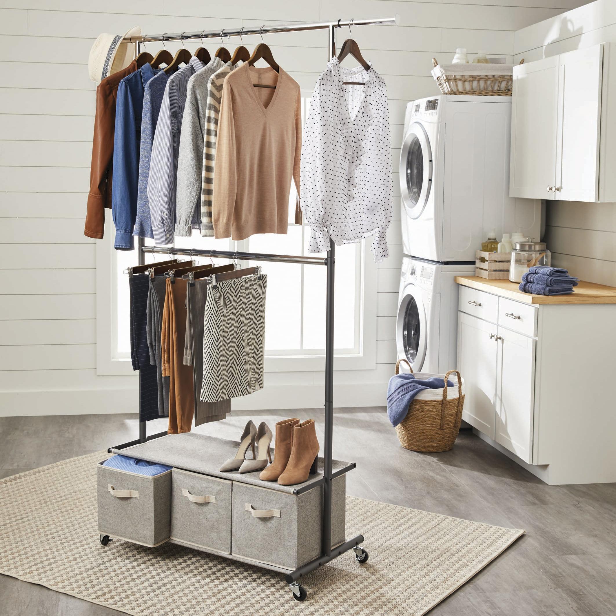 Better Homes Gardens 2 Tier Garment Rack With 3 Drawer Closet Organizer Gray Walmart Com