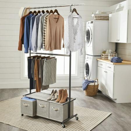 Better Homes & Gardens® Charleston Double Rod Garment Rack with 3 Drawer Organizer (Double Row Rack)