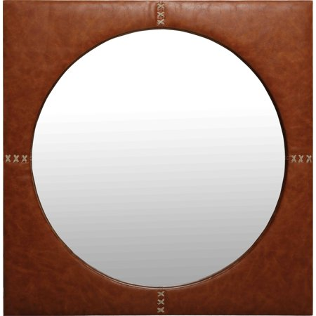 Renwil  Rodeo Caramel Brown Faux Leather Square Framed Wall Mirror ()