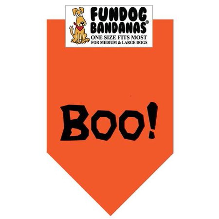 Fun Dog Bandana - Boo! (Halloween) - One Size Fits Most for Med to Lg Dogs, orange pet - Family Matters Dog Day Halloween Part 1
