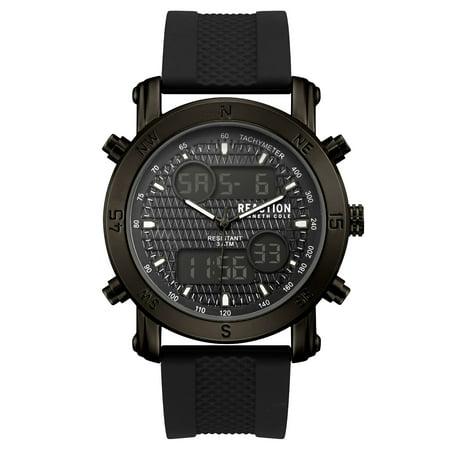 Kenneth Cole Reaction Men's Black Case Black Dial Black Silicone Strap Watch ()