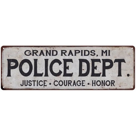 GRAND RAPIDS MI POLICE DEPT Home Decor Metal Sign Gift 6x18 206180012112