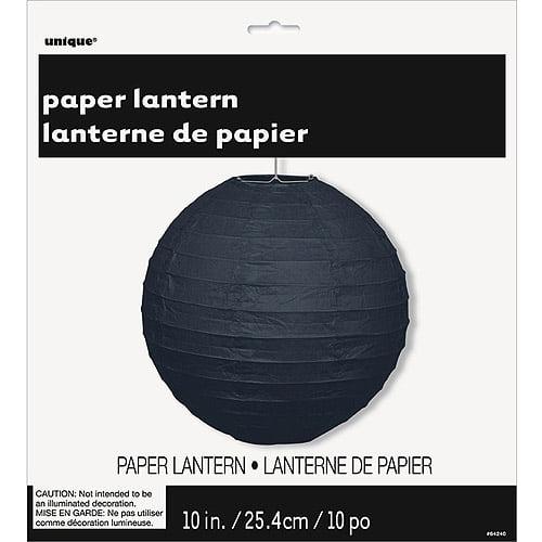 Round Paper Lantern, 10 in, Black, 1ct