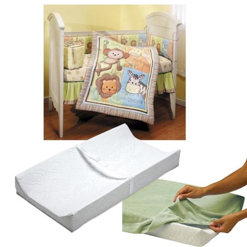 Summer Infant Monkey Jungle 4 Piece Crib Bedding Set with Contoured Changing Pad & Cover