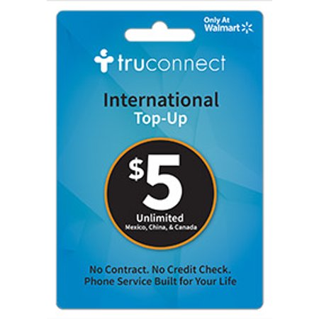 $5 TruConnect International Unlimited Mexico, China, & Canada refill card (Email