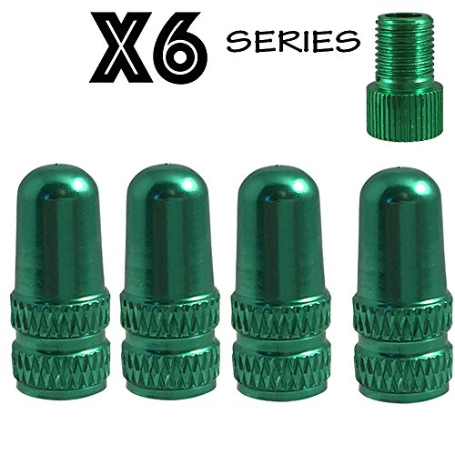 Set of 4 X6 Series Alloy Anodized Presta Valve Caps with Matching Presta Valve Adapter by Forest Byke Company (Gold)