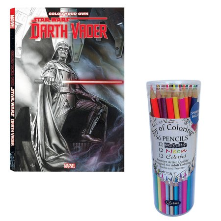 (Set) Color Your Own Star Wars Darth Vader Coloring Book & Colored Pencils