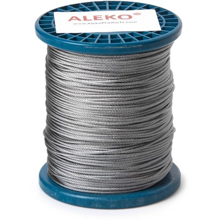 """ALEKO WR1/16G304F500 1/16"""" 7X7 Aircraft Galvanized Steel Cable Wire Rope, 500"""