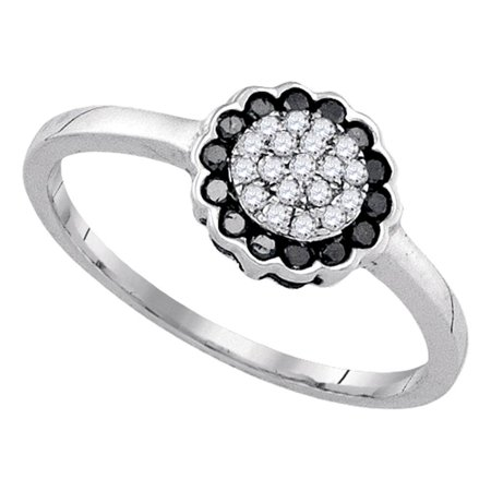 Black Diamond Flower Ring Sterling Silver Cocktail Band Cluster Style Fashion Polished Fancy 1/4 ctw