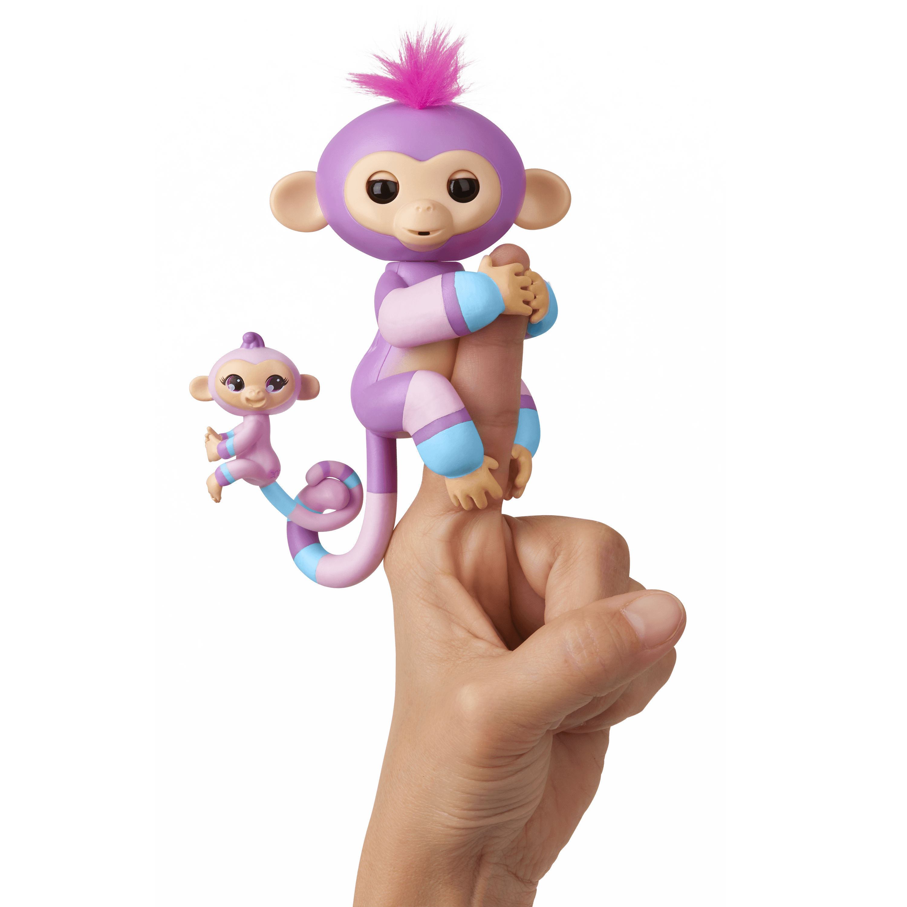 Fingerlings Baby Monkey & Mini BFFs - Violet & Hope (Mauve-Blue) - By WowWee