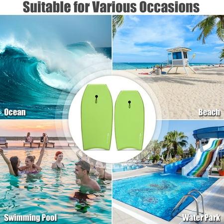 Goplus 37'' Super Lightweight Bodyboard Surfing W/Leash EPS Core Boarding IXPE Green
