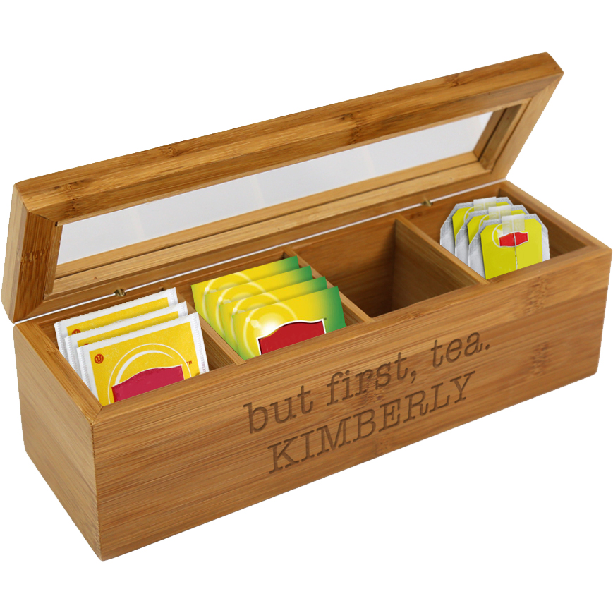 But First, Tea Personalized Wood Tea Box