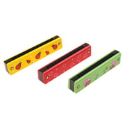 3pcs Colorful Cartoon Harmonica Wood Music Instrument Toy Baby Educational Toy