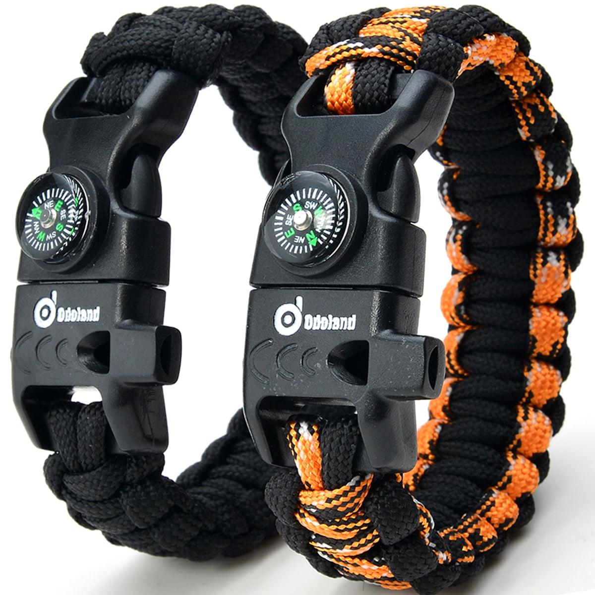 ODOLAND Paracord Bracelet Emergency Survival Cord 2-Peak Series Gear Kit w/ Compass Fire Starter Knife Whistle