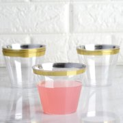 BalsaCircle Clear with Gold Rim 25pcs 9 oz Disposable Plastic Tumbler Cups - Wedding Reception Party Tableware
